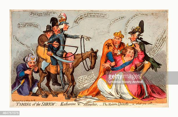 Taming Of The Shrew Katharine And Petruchio The Modern Quixotte Or What You Will Gillray James 17561815 Engraving 1791 Catherine Ii Faint And Shying...
