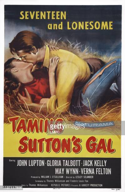 Taming Sutton's Gal poster lr Gloria Talbott John Lupton on poster art 1957
