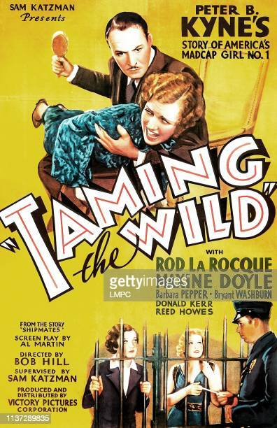 Taming The Wild poster US poster art above title from top Rod La Rocque Maxine Doyle bottom behind bars from left Maxine Doyle Barbara Pepper 1936