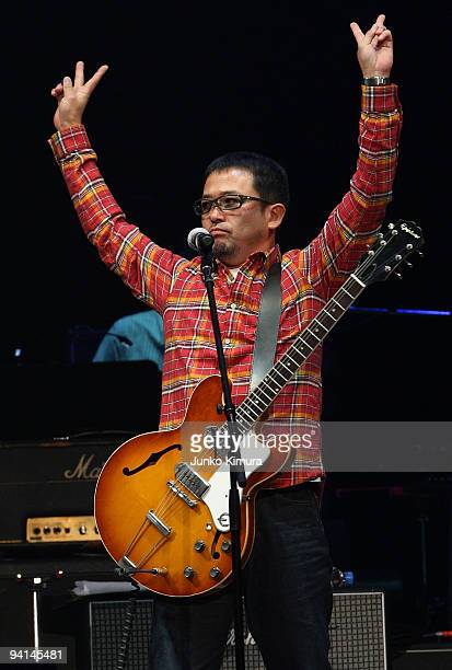 Tamio Okuda performs on stage during the Dream Power John Lennon Super Live concert at Nippon Budokan on December 8, 2009 in Tokyo, Japan.