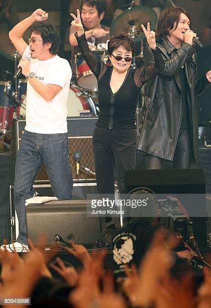 Tamio Okuda, Yoko Ono and Kazuya Yoshii performs during the John Lennon Super Live 2008 at Nippon Budokan on December 8, 2008 in Tokyo, Japan.