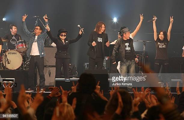 Tamio Okuda, Yoko Ono, Kazuya Yoshii, Shigeru Izumiya and Kumi of Lov Psychedelico perform on stage during the Dream Power John Lennon Super Live...