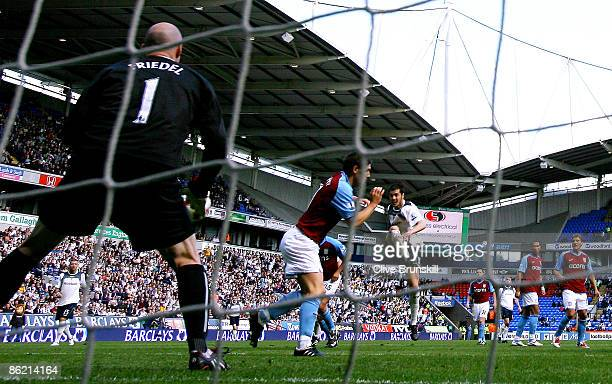 Tamir Cohen of Bolton Wanderers scores the equalizing goal during the Barclays Premier League match between Bolton Wanderers and Aston Villa at the...