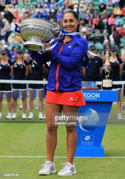 Tamira Paszek of Austria celebrates winning her match against Angelique Kerber of Germany during the Womens Singles Final day eight of the AEGON...