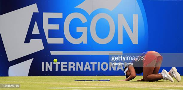 Tamira Paszek of Austria celebrates winning match point against Angelique Kerber of Germany during the Womens Singles Final day eight of the AEGON...