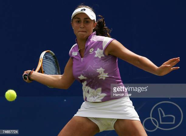 Tamira Paszek of Austria in action during her match against Maria Sharapova of Russia during day 6 of the DFS Classic at the Edgbaston Priory Club on...