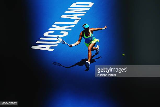 Tamira Paszek of Austria plays a forehand during her first round match against Francesca Schiavone of Italy during day two of the 2016 ASB Classic at...