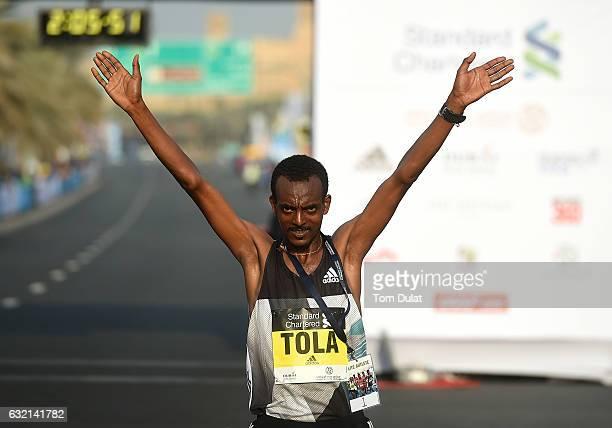 Tamirat Tola of Ethiopia wins Elite Men's Standard Chartered Dubai Marathon 2017 on January 20 2017 in Dubai United Arab Emirates