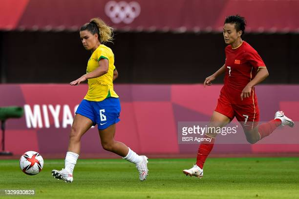 Tamires of Brazil and Shuang Wang of China during the Tokyo 2020 Olympic Football Tournament match between China and Brazil at Miyagi Stadium on July...