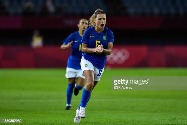 Tamires of Brazil celebrates after her teams second goal during the Tokyo 2020 Olympic Football Tournament match between Netherlands and Brazil at...