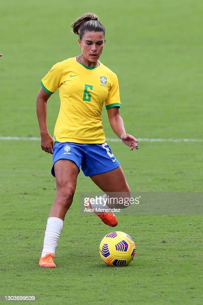Tamires of Brazil controls the ball against the United States during the SheBelieves Cup at Exploria Stadium on February 21, 2021 in Orlando, Florida.