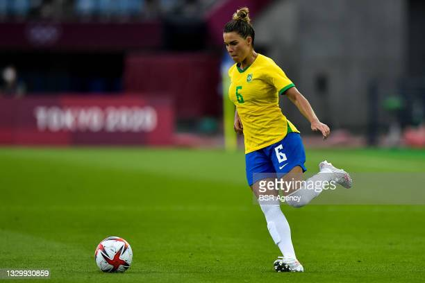 Tamires of Brazil during the Tokyo 2020 Olympic Football Tournament match between China and Brazil at Miyagi Stadium on July 21, 2021 in Rifu, Japan