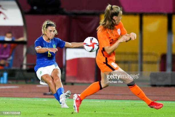 Tamires of Brazil pass the ball during the Women's First Round Group F match on day one of the Tokyo 2020 Olympic Games at Miyagi Stadium on July 24,...