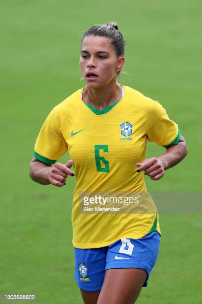 Tamires of Brazil plays against the United States during the SheBelieves Cup at Exploria Stadium on February 21, 2021 in Orlando, Florida.