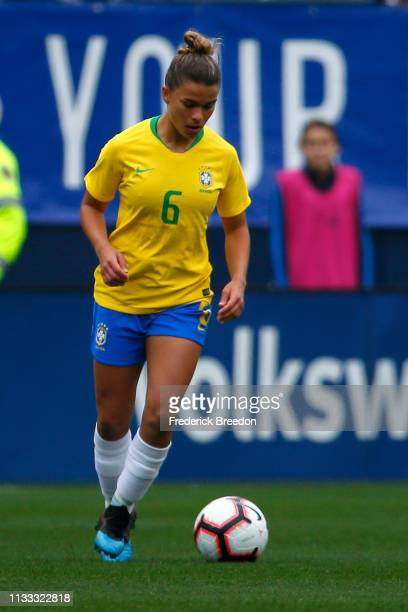 Tamires of Brazil plays during the 2019 SheBelieves Cup match between Brazil and Japan at Nissan Stadium on March 2 2019 in Nashville Tennessee