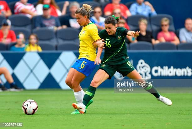 Tamires of Brazil vies for the ball with Hayley Raso of Australia during their Tournament of Nations football match at Children's Mercy Park in...