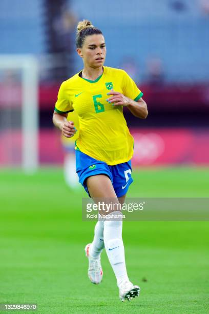 Tamires of Team Brazil in action during the Women's First Round Group F match between China and Brazil during the Tokyo 2020 Olympic Games at Miyagi...