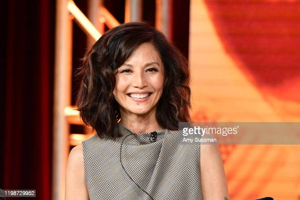 Tamlyn Tomita of Asian Americans speaks during the PBS segment of the 2020 Winter TCA Press Tour at The Langham Huntington Pasadena on January 10...