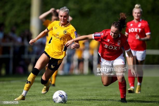 Tammi George of Wolverhampton Wanderers is challenged by Olivia Cook of Nottingham Forest Women during the FAWNL Northern Premier Division match...