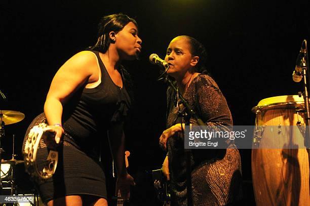 Tammi Scroggins and Marie Scroggins of ESG perform on stage at KOKO on January 17 2014 in London United Kingdom