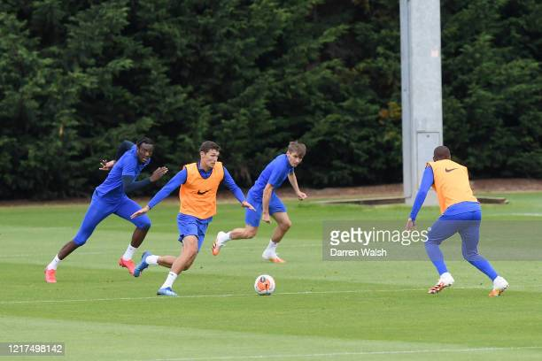 Tammy Abraham and Andreas Christensen of Chelsea during a training session at Chelsea Training Ground on June 4, 2020 in Cobham, England.