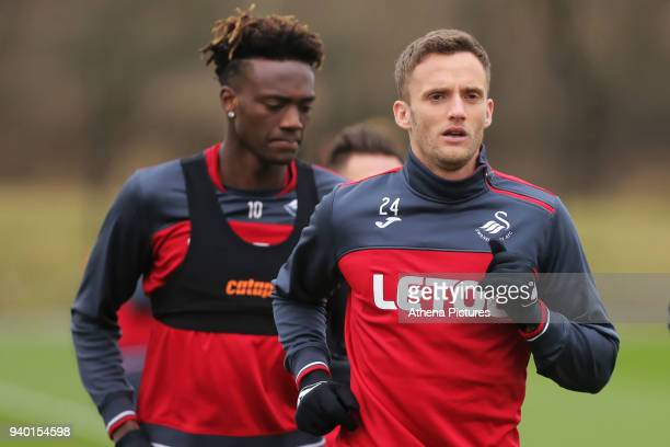 Tammy Abraham and Andy King in action during the Swansea City Training Session and Press Conference at The Fairwood Training Ground on March 29 2018...