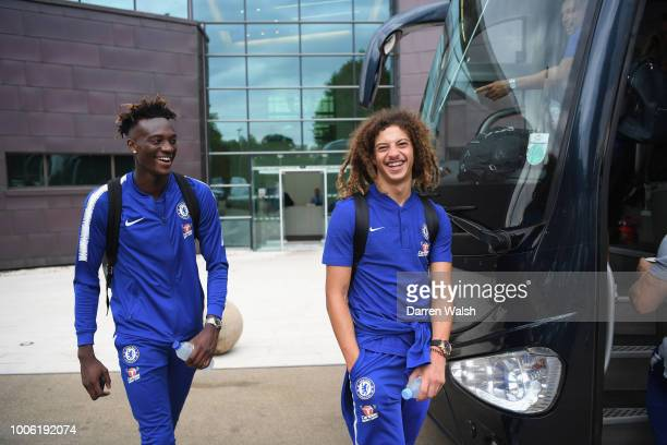 Tammy Abraham and Ethan Ampadu of Chelsea leaves to board the coach to go to the airport after a training session at Chelsea Training Ground on July...