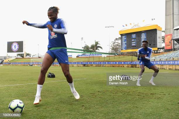 Tammy Abraham and Kasey Palmer of Chelsea during a training session on July 21 2018 at the WACA in Perth Australia