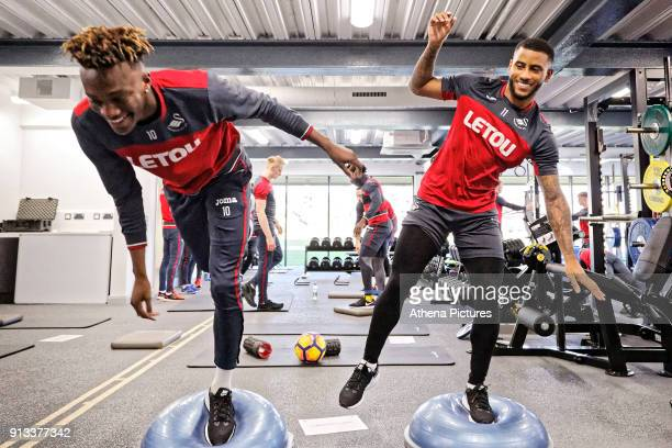 Tammy Abraham and Luciano Narsingh exercise in the gym during the Swansea City Training and Press Conference at The Fairwood Training Ground on...