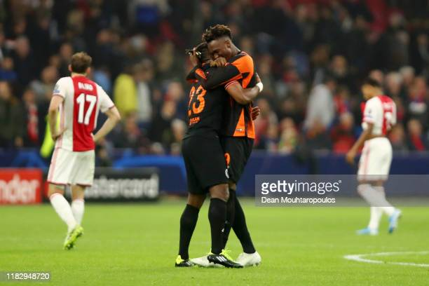 Tammy Abraham and Michy Batshuayi of Chelsea celebrate following victory in the UEFA Champions League group H match between AFC Ajax and Chelsea FC...