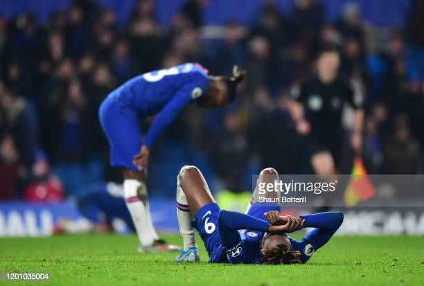 Tammy Abraham and Michy Batshuayi of Chelsea reacts after the Premier League match between Chelsea FC and Arsenal FC at Stamford Bridge on January...