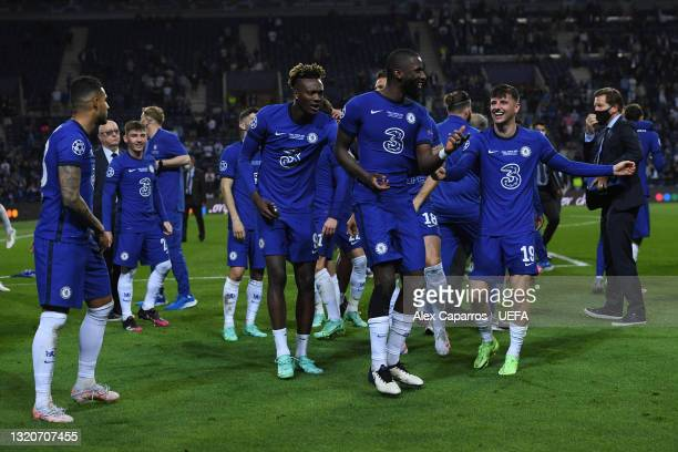 Tammy Abraham, Antonio Ruediger and Mason Mount of Chelsea celebrate following the UEFA Champions League Final between Manchester City and Chelsea FC...