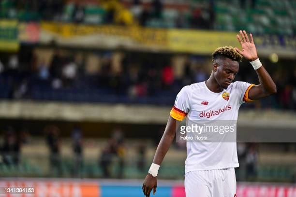 Tammy Abraham appears disappointed after the Serie A match between Hellas and AS Roma at Stadio Marcantonio Bentegodi on September 19, 2021 in...