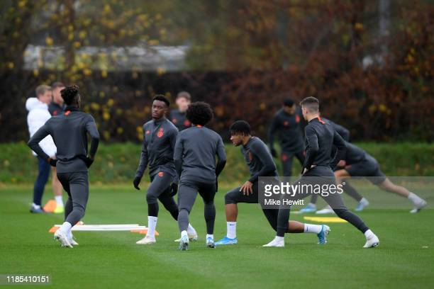 Tammy Abraham Callum HudsonOdoi Willian and Reece James participate in a training session ahead of their UEFA Champions League Group H match against...