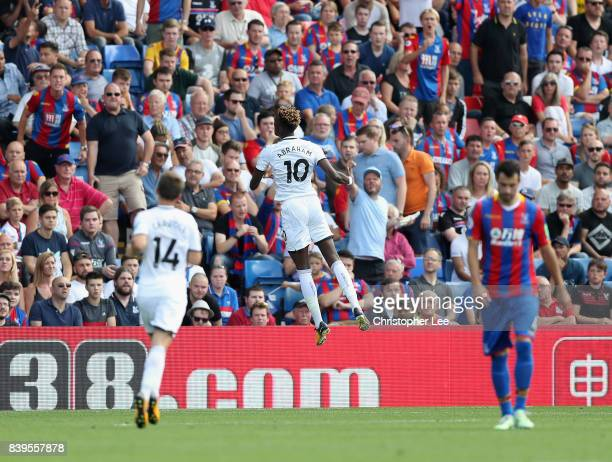 Tammy Abraham celebrates scoring their first goal during the Premier League match between Crystal Palace and Swansea City at Selhurst Park on August...