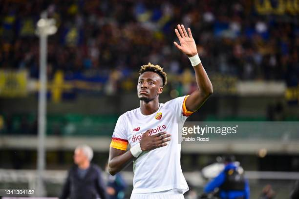 Tammy Abraham disappointed after the Serie A match between Hellas and AS Roma at Stadio Marcantonio Bentegodi on September 19, 2021 in Verona, Italy.