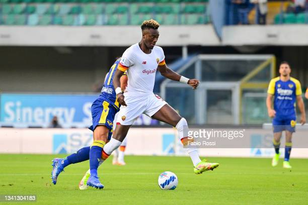 Tammy Abraham during the Serie A match between Hellas and AS Roma at Stadio Marcantonio Bentegodi on September 19, 2021 in Verona, Italy.