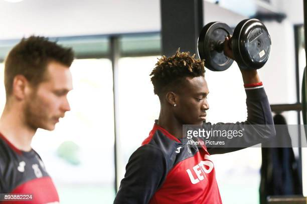 Tammy Abraham exercises in the gym during the Swansea City Training at The Fairwood Training Ground on December 15 2017 in Swansea Wales