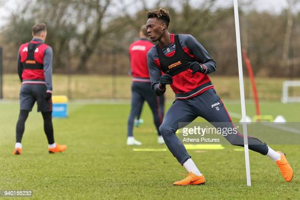 Tammy Abraham in action during the Swansea City Training Session and Press Conference at The Fairwood Training Ground on March 29 2018 in Swansea...