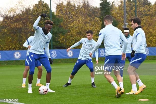 Tammy Abraham Mason Mount of Chelsea during a training session at Chelsea Training Ground on October 15 2020 in Cobham England