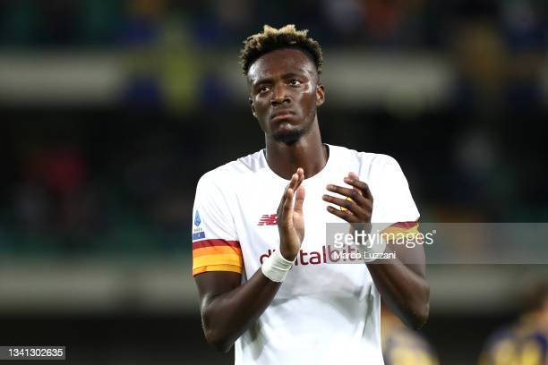Tammy Abraham of AS Roma applauds the fans following the Serie A match between Hellas and AS Roma at Stadio Marcantonio Bentegodi on September 19,...