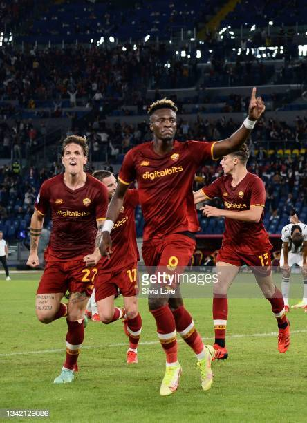 Tammy Abraham of AS Roma celebrates with teammate Nicolò Zaniolo after scoring goal 1-0 during the Serie A match between AS Roma v Udinese Calcio at...