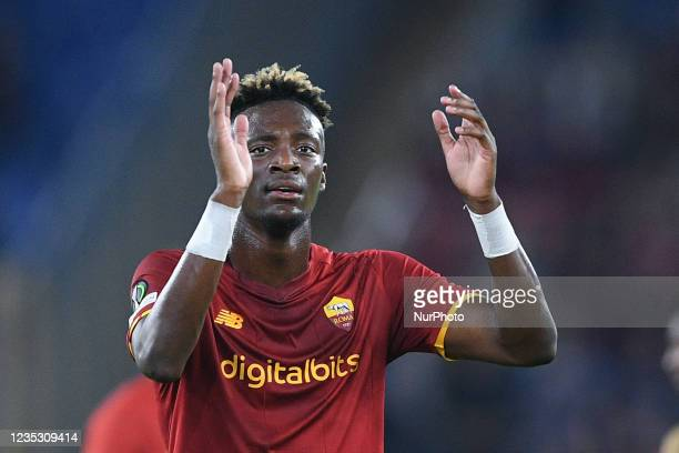 Tammy Abraham of AS Roma greets his supporters during the UEFA Conference League group C match between AS Roma and AS Roma at Stadio Olimpico, Rome,...