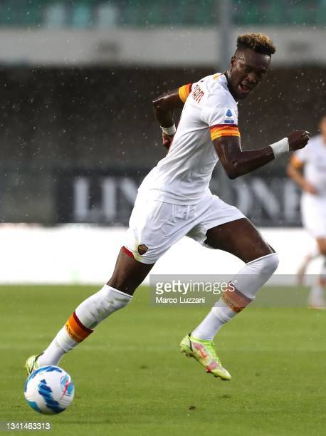 Tammy Abraham of AS Roma in action during the Serie A match between Hellas and AS Roma at Stadio Marcantonio Bentegodi on September 19, 2021 in...