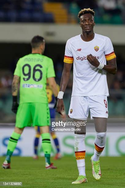 Tammy Abraham of AS Roma looks dejected during the Serie A match between Hellas and AS Roma at Stadio Marcantonio Bentegodi on September 19, 2021 in...
