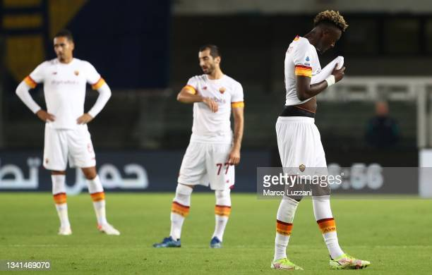 Tammy Abraham of AS Roma looks dejection during the Serie A match between Hellas and AS Roma at Stadio Marcantonio Bentegodi on September 19, 2021 in...