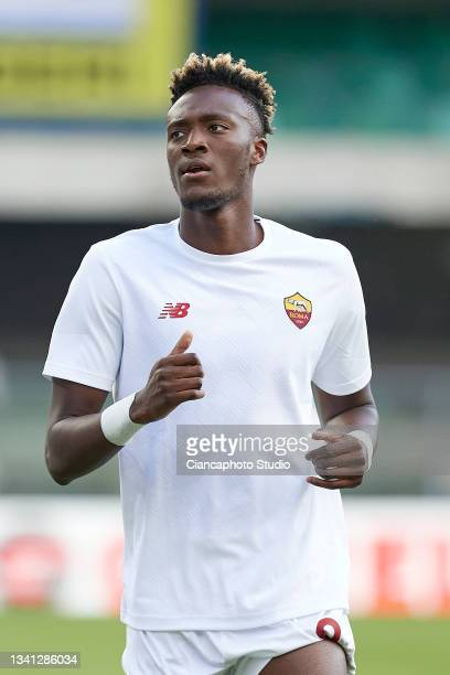 Tammy Abraham of AS Roma looks on prior to the Serie A match between Hellas and AS Roma at Stadio Marcantonio Bentegodi on September 19, 2021 in...