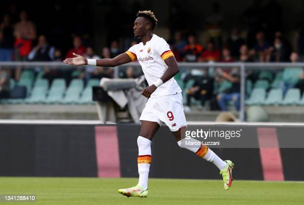 Tammy Abraham of AS Roma reacts during the Serie A match between Hellas and AS Roma at Stadio Marcantonio Bentegodi on September 19, 2021 in Verona,...