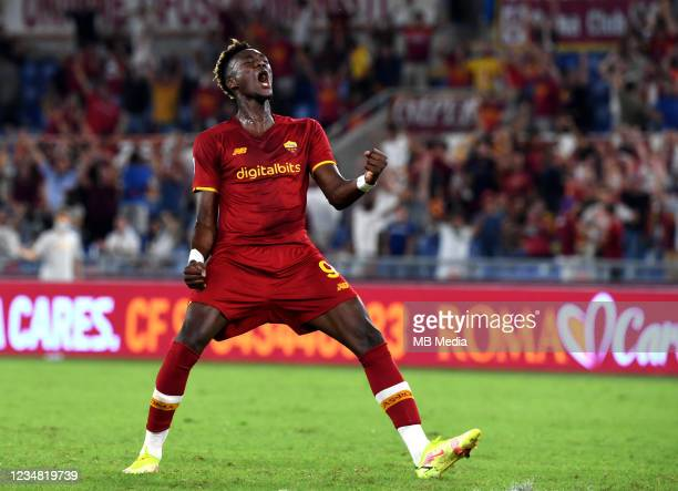 Tammy Abraham of AS Roma reacts ,during the Serie A match between AS Roma v ACF Fiorentina at Stadio Olimpico on August 22, 2021 in Rome, Italy.