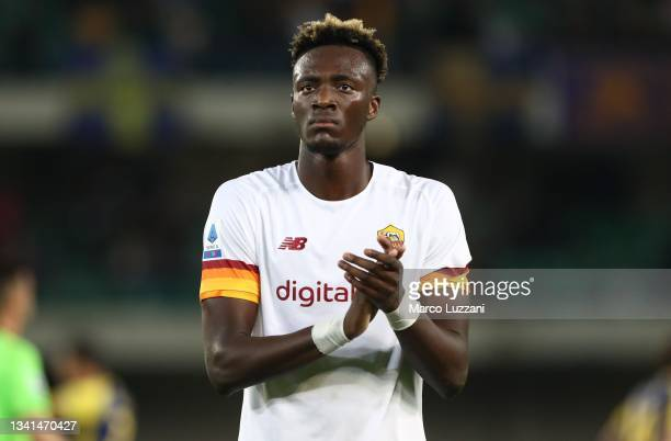 Tammy Abraham of AS Roma salutes the crowd at the end of Serie A match between Hellas and AS Roma at Stadio Marcantonio Bentegodi on September 19,...